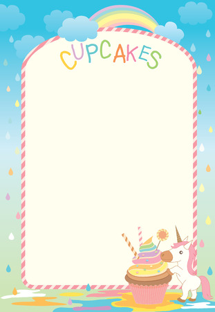 Illustration of cupcake and unicorn  in the creamy rain with rainbow on raining background for menu and recipe template.Blank for your text or message.