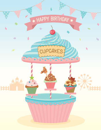 Illustration of cupcakes merry go round booth in theme park festival party background for happy birthday card.