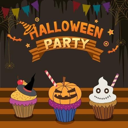 illustrator  vector: Illustrator vector of halloween party with cupcakes in holiday background.Bakery cafe shop.