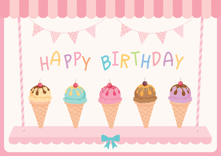 flavour: Illustration ice-cream various flavour for happy birthday card.Pink pastel colors. Illustration