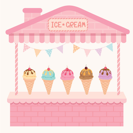 cute house: Illustration various ice-cream sundae cone flavour cafe display on cute house booth design with pink pastel color background.