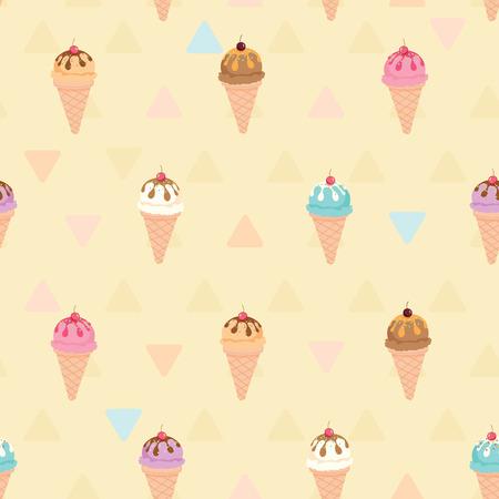 icecream cone: Vector seamless pattern of ice-cream cone sundae menu on beige pastel colors background.