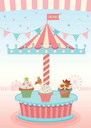 shelf ice: Illustration vector of cupcakes merry go round booth in theme park festival party and pastel background colors. Illustration