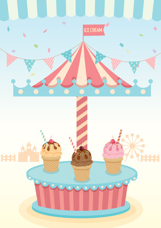 merry go round: Illustration vector of ice cream merry go round booth in theme park festival party and pastel background colors.