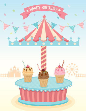 merry go round: Illustration vector of ice cream with  merry go round booth in theme park festival party background for happy birthday card.