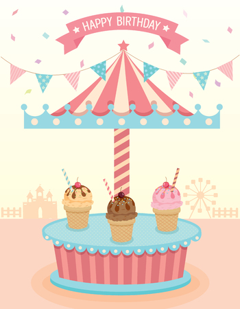 merry go round: Illustration vector of ice cream merry go round booth in theme park festival party in beige background colors.