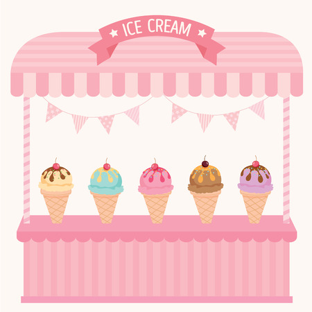 icecream cone: Illustration ice-cream cone cafe display on cute shelf design with pink pastel color background.