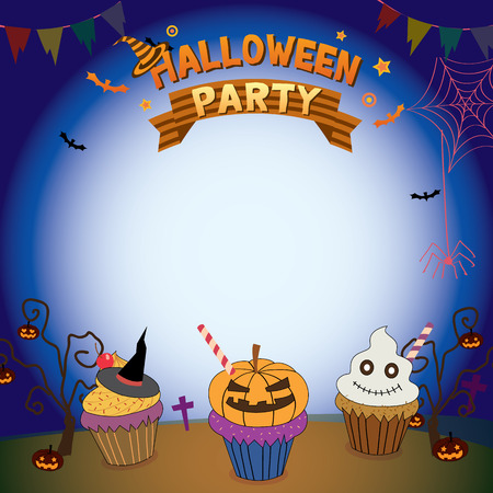 illustrator  vector: Illustrator vector of halloween cupcakes in holiday parties template for  invitation.Blank for your text or message.Dark background colors.