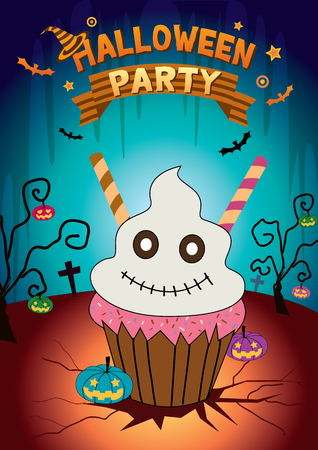 cute ghost: Illustration vector cute ghost cupcake with halloween parties background.