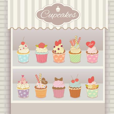 food market: Illustration vector various cupcakes menu display on shelf in showcase of white cafe shop. Illustration