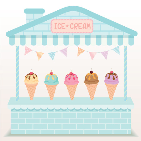 cute house: Illustration various  ice-cream cone sundae flavour cafe display on cute house booth design with blue and cyan pastel color background.