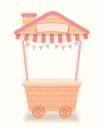 cute house: Illustration vector cute empty cart  house cafe for shop.