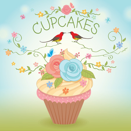 Sweet vector cupcake flowers and couple birds for bakery cafe.Nature background.