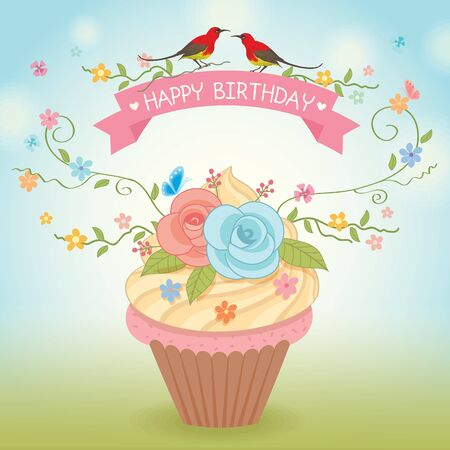 Sweet cupcake decoration with flowers and couple birds for happy birthday vector card.Nature background. 向量圖像