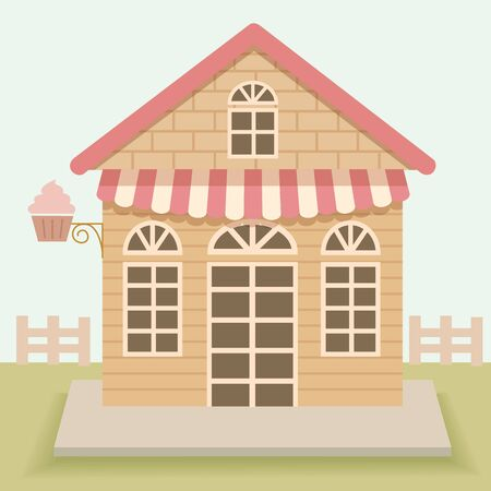 awnings windows: Cute house cakes cafe vector design.