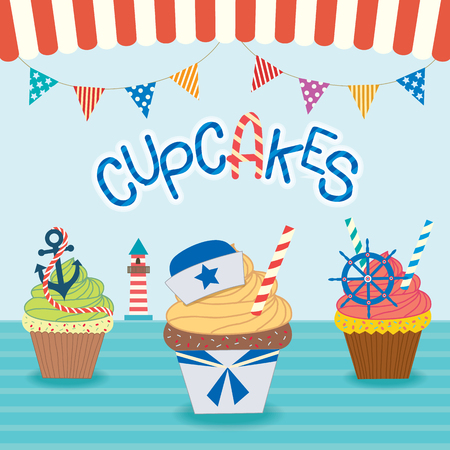ahoy: Illustration vector  sailor cupcakes concept design  in ocean background vectors for bakery and cakes cafe.