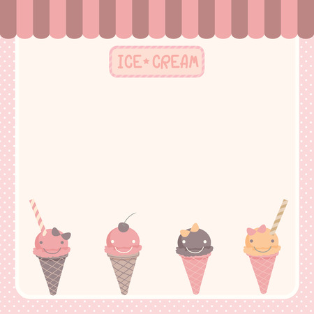 Illustration vector of cute ice-cream various flavors blank space for menu,recipe bakery template.