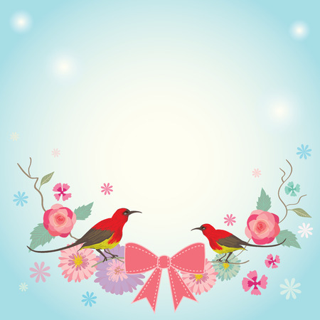marcos redondos: vector ilustrativa para card.Flowers invitación amante de ramos de flores con par de aves y decoración de la cinta de color rosa en el fondo azul. Vectores