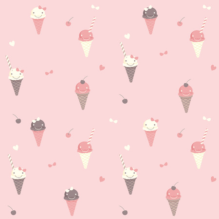 Vector seamless pattern of cute ice-cream various flavors on pink pastel background colors.