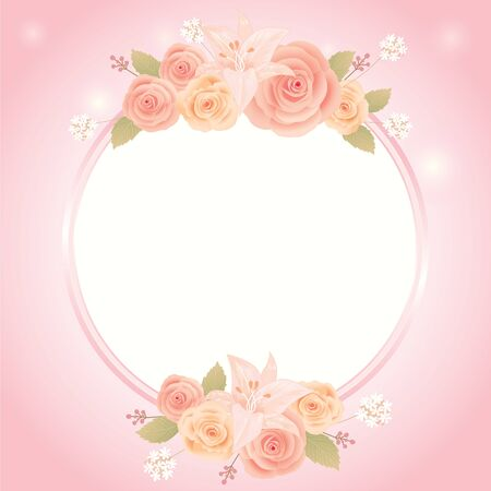 Vector for Lover invitation card.Roses and flowers decoration around the border circle border frame.