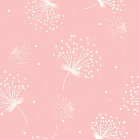 drifting: Vector of tender white pollen decoration into seamless pattern on sweet pink  background colors. Illustration