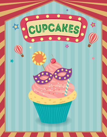 fancy pastry: Fantasy cupcakes on carnival  background theme party.Illustration vector.