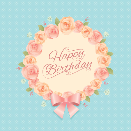 cerebrate: Vector of roses flowers bouquet wreath for invitation with vintage style for happy birthday card.Blue cyan background colors. Illustration