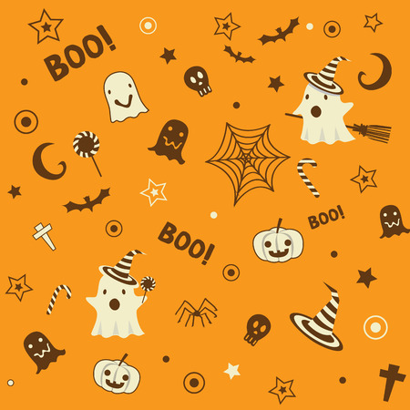 Halloween symbol design element decoration into seamless pattern for wallpaper on biege, brown and oragne background colors.