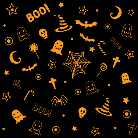 Halloween symbol design decoration into seamless pattern for wallpaper with orange and black background colors.
