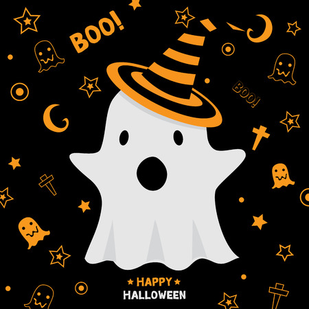 #61653110   Cute Little Ghost Wear Witch Hat Design For Happy Halloween  Holiday Party Invitation Card Vector Illustration.