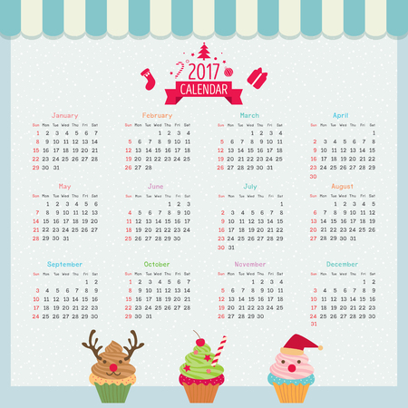 twelve: Illustration vector cupcake design with  merry christmas ornament twelve month for 2017 calendar template.