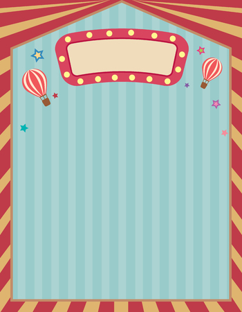 school carnival: Vector the circus ccarnival template retro vintage frame for poster.Blank space for text. Illustration