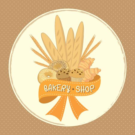 Bakery product group for icon or logo sign decoration with ribbons in pastel  brown background colors.