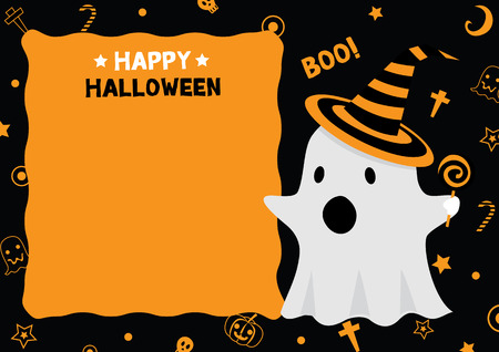 party wear: Cute little ghost wear witch hat design for happy halloween holiday party invitation card vector illustration. Illustration