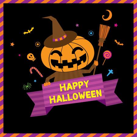 imp: Little cute pumpkin for happy halloween invitation card.Illustration vector. Illustration