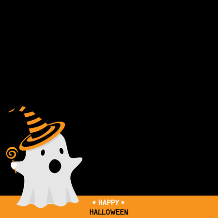 party wear: Cute little ghost wear witch hat and take a candy in darkness background design for happy halloween holiday party invitation template card vector illustration.Black space for copy text.