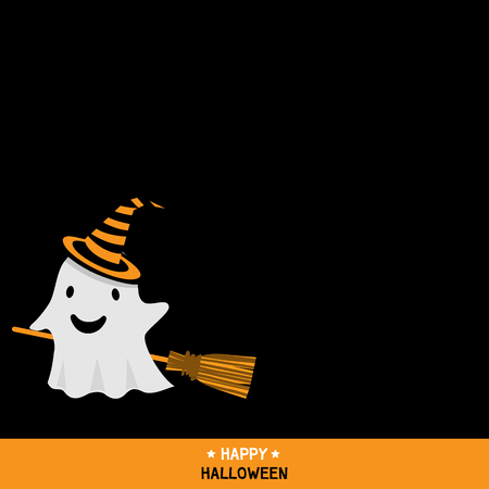 party wear: Cute little ghost wear witch hat and ride a broomstick in darkness background design for happy halloween holiday party invitation template card vector illustration.Black space for copy text. Illustration