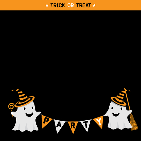 broomstick: Cute little ghost with hat witch take a candy and broomstick in black background design for happy halloween holiday party invitation template card.Illustration vector.Black space for copy text.