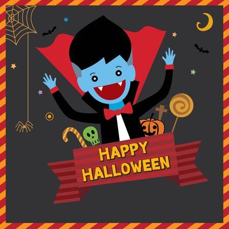 fiend: Cute little vampire decoration with ornament for happy halloween invitation card.Illustration vector. Illustration