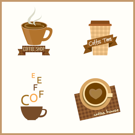 be alert: Coffee cafe shop design, icon and symbol sign.Isolated illustration in beige and brown.