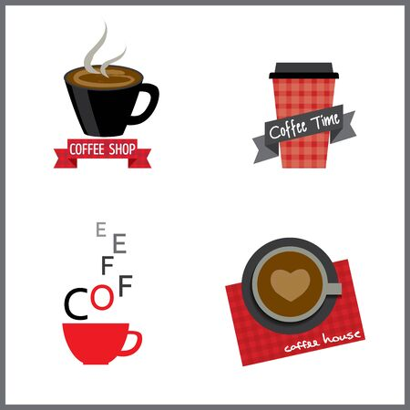 be alert: Coffee cafe shop design, icon and symbol sign.Isolated illustration in black and red colors.