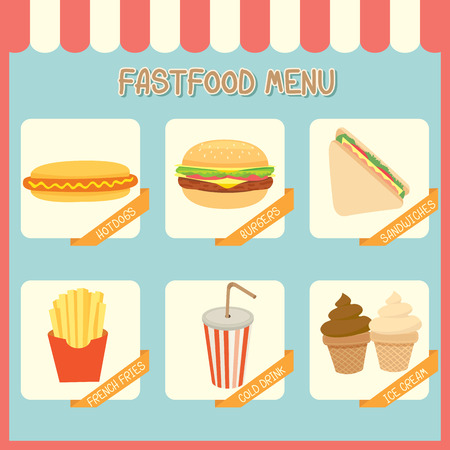 awnings: Illustration of fast food menu of cafe shop on pastel background colors.