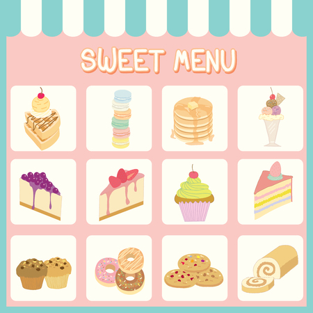 blueberry cheesecake: Illustration of sweet menu of dessert for bakery or cafe shop on pastel background colors.