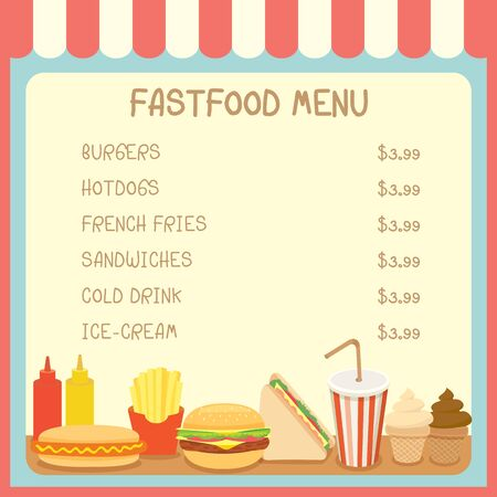 awnings: Illustration of fast food menu sing board with price of cafe shop on pastel background colors.