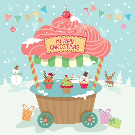 push cart: Illustration vector of merry christmas cupcake push cart booth kiosk with ornament on snow background party.Pastel color cute style.