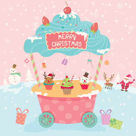 push cart: Illustration vector of merry christmas cupcake push cart booth kiosk with ornament on snow pink background party.Pastel color cute style.
