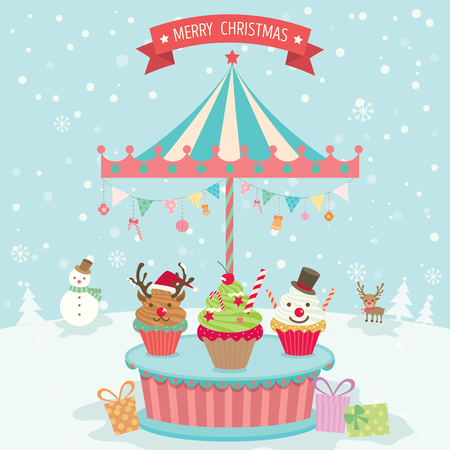 merry go round: Illustration vector of merry christmas element cupcake decoration with merry go round  party on snow background.