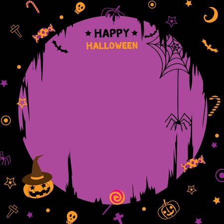 copy text: Illustration vector of happy halloween  party template with pumpkin.Violet and black background colors.Blank for copy text.