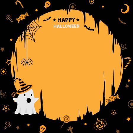 Illustration vector of happy halloween  party template with little cute ghost.Orange and black background colors.Blank for copy text. Çizim