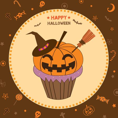 Illustration vector of cupcakes decoration to pumpkin monster for happy halloween party.Brown background colors.